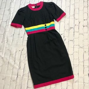 80's Vintage Rainbow Striped Neon Mod Sheath Dress